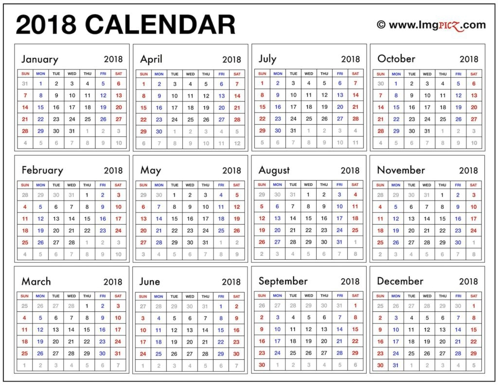Free Printable 2018 Calendar One Page Year At A Glance Printable