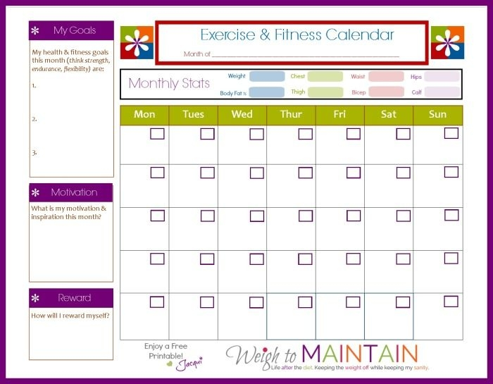 Free Printable Fitness Calendar To Plot Workouts Track Exercise