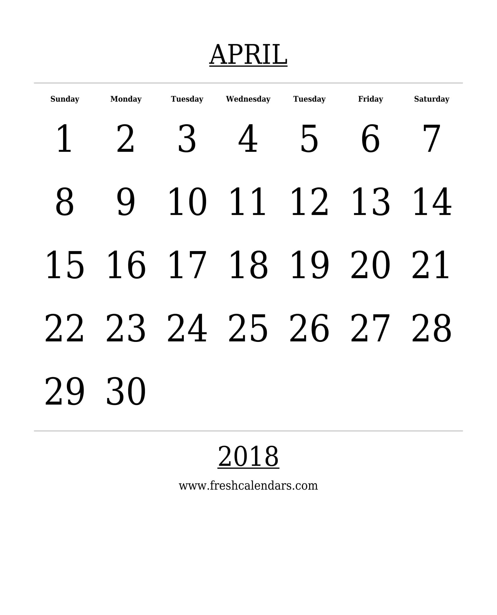 Free Printable Template April 2018 Calendar Bold Style 89uj
