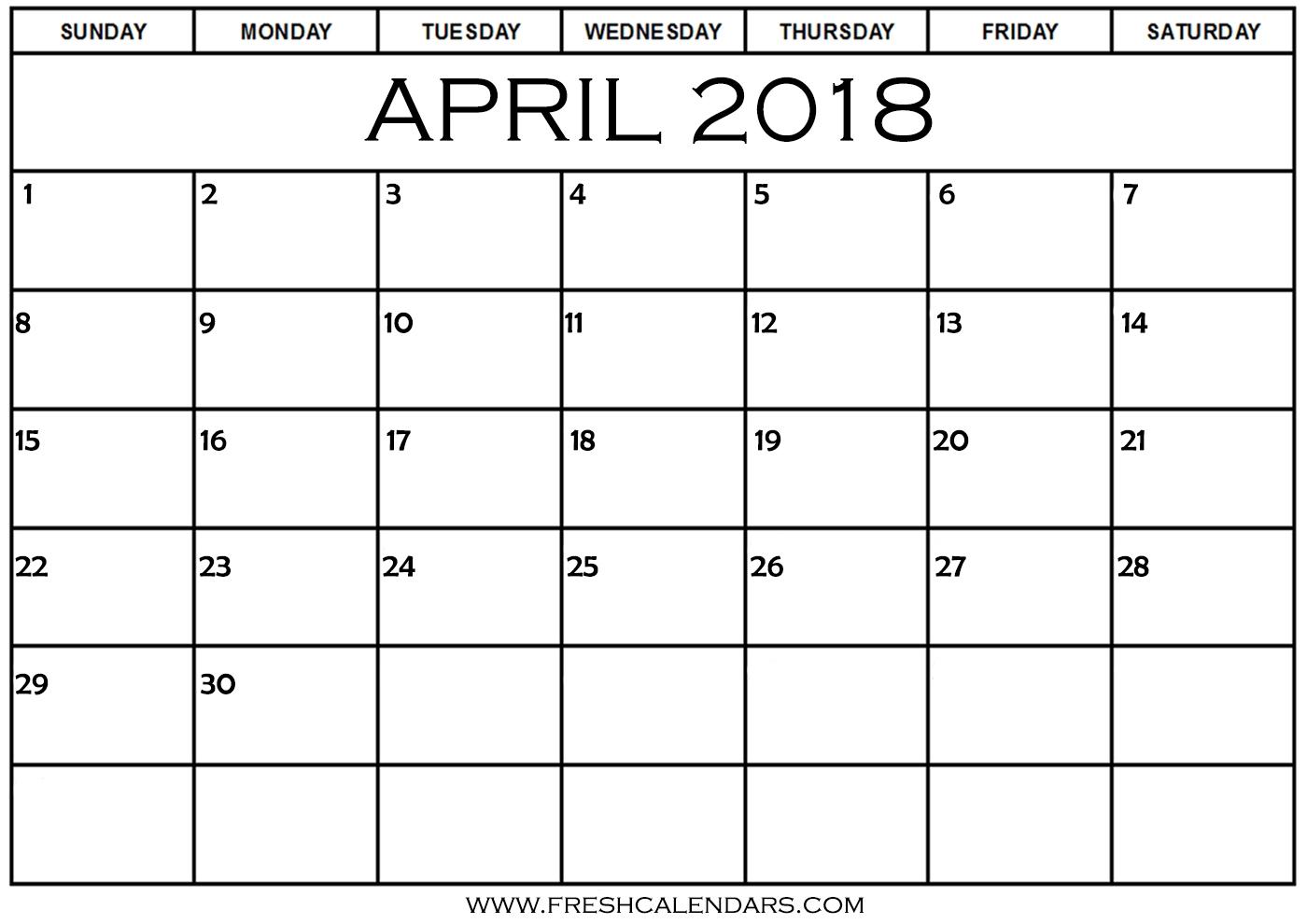 Free Printable Template April 2018 Calendar Bold Style  Xjb