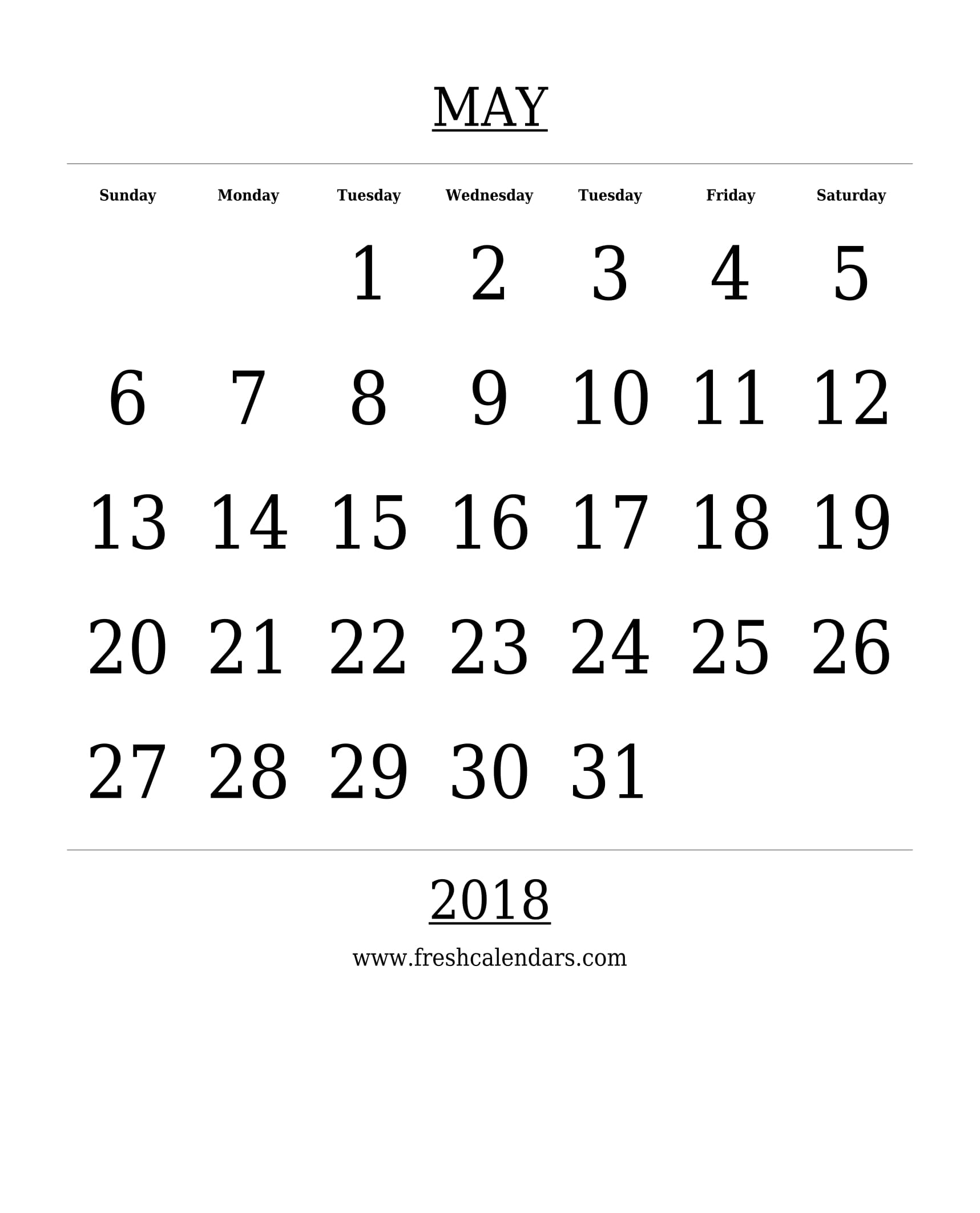 Free Printable Template May 2018 Calendar Bold Style 89uj