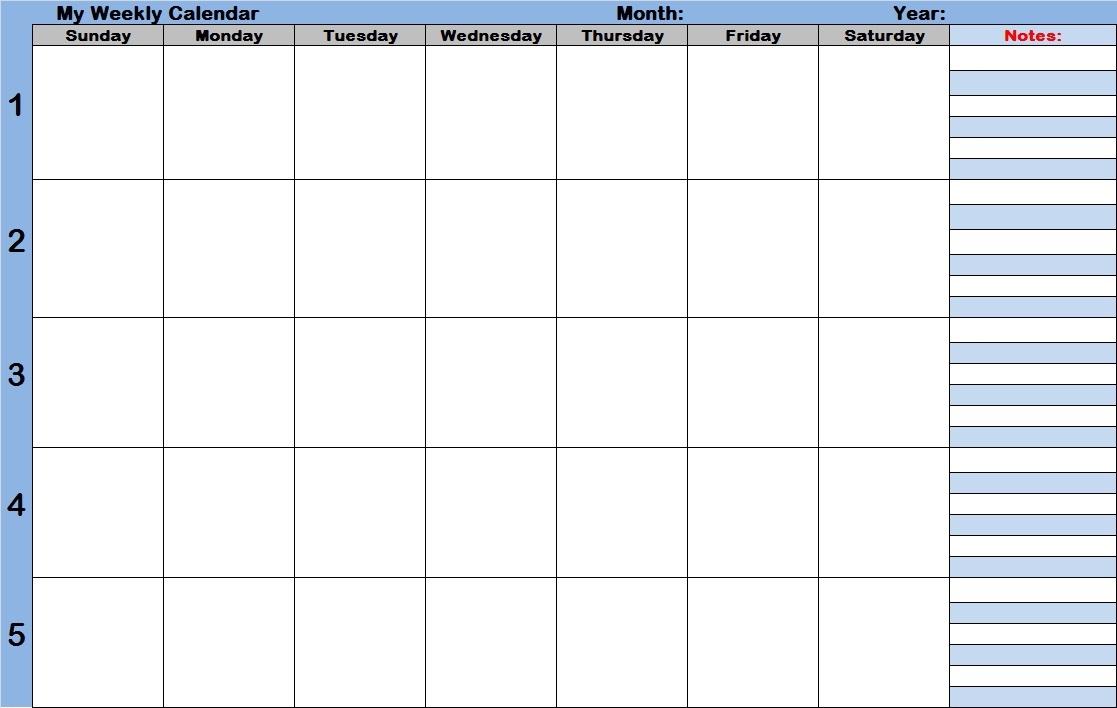 Free Printable Weekly Calendar With Time Slots Printable 89uj