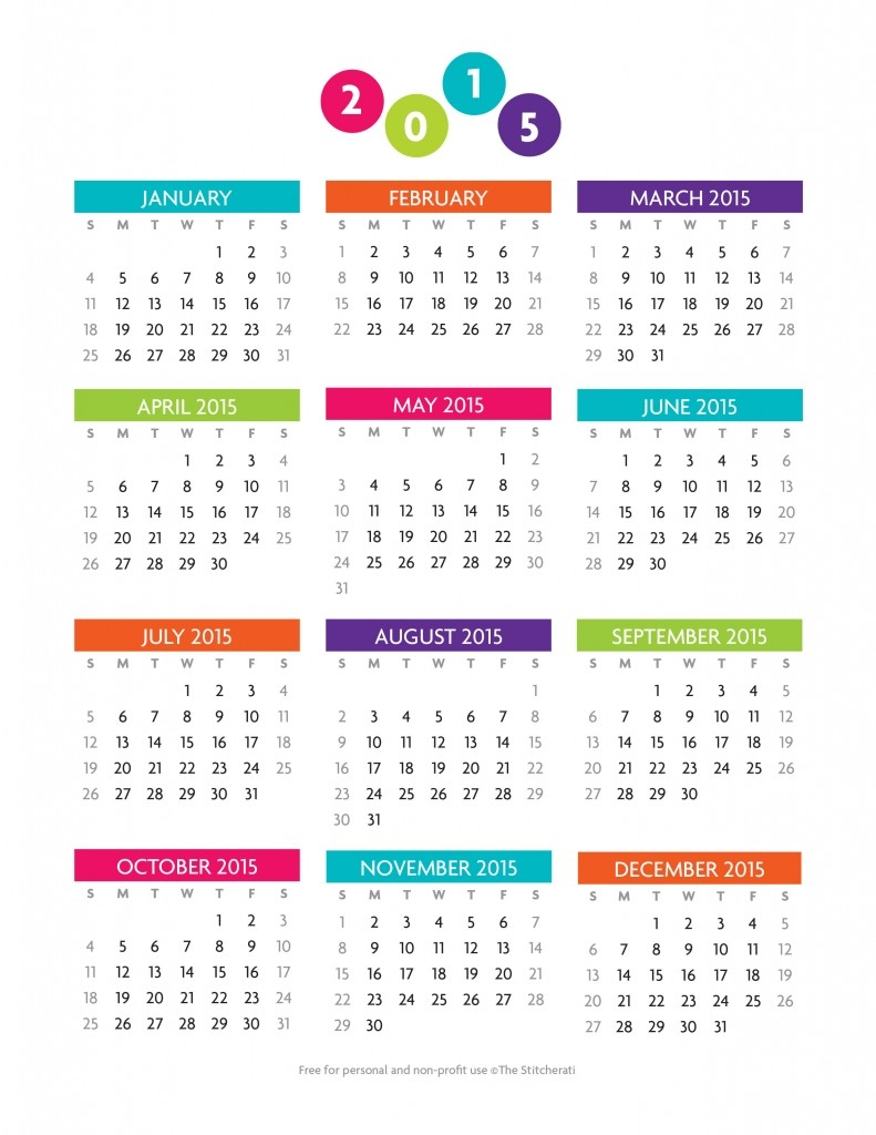 Free Printable Year At A Glance 2015 Calendar Graphics Galore3abry