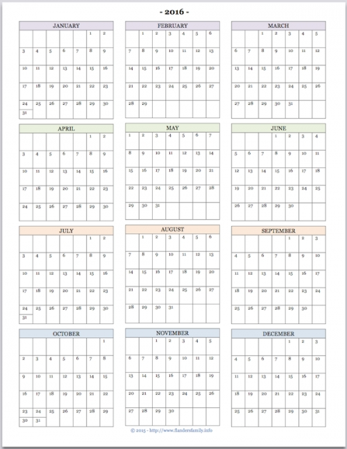 Free Printable Year At A Glance Calendar For 2016 Youll Also
