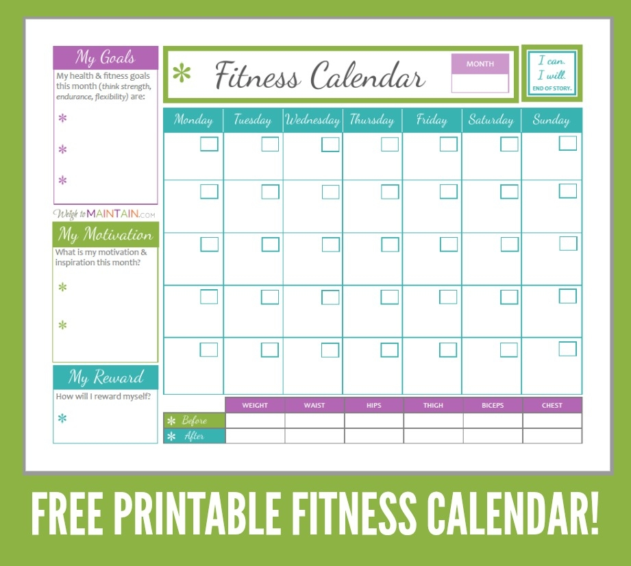 Free Printables For Diet Fitness