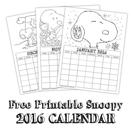 Free Printable Snoopy Calendar
