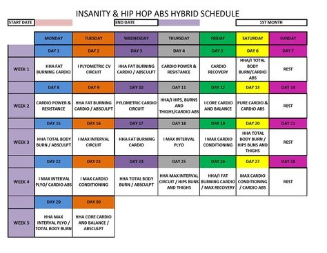 Hip Hop Abs Schedule Deluxe Month 2 Workouts Abscore Only