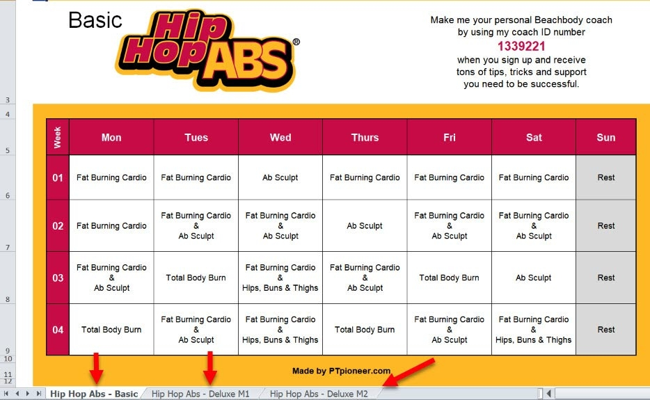 Hip Hop Abs Schedule Workout Calendar To Save And Print Out