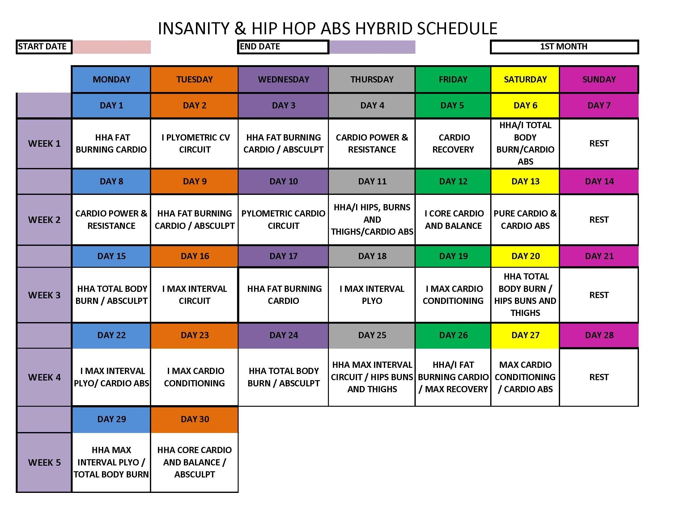 Insanity Hip Hop Abs Hybrid Schedule Insanity Pinterest  Xjb