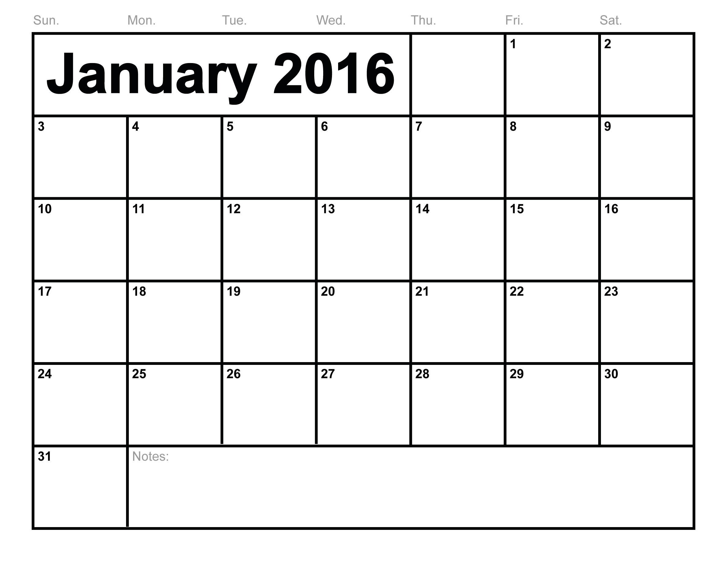 January 2016 Printable Calendar Template Calendar Template