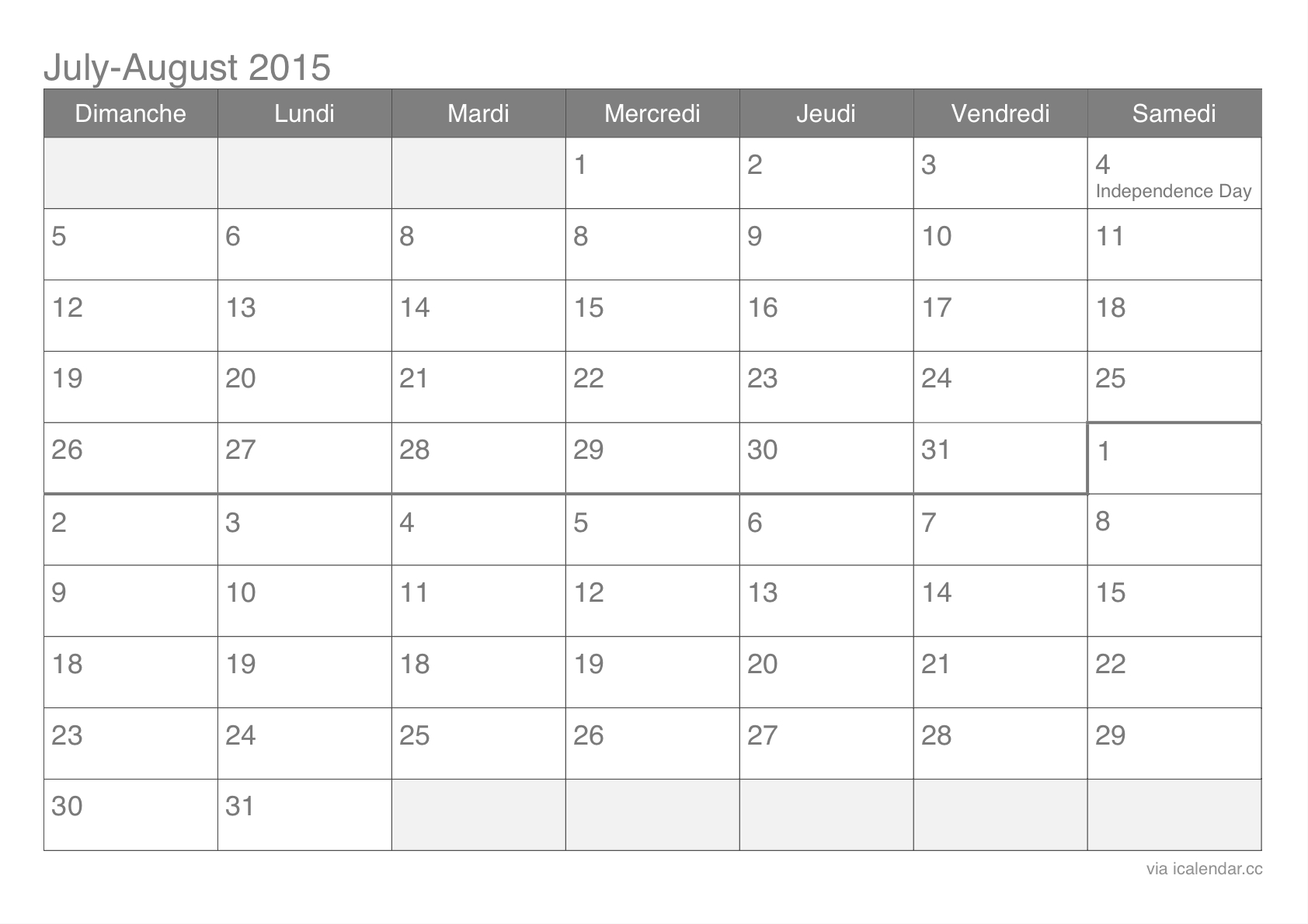 July And August 2015 Printable Calendar Icalendars3abry