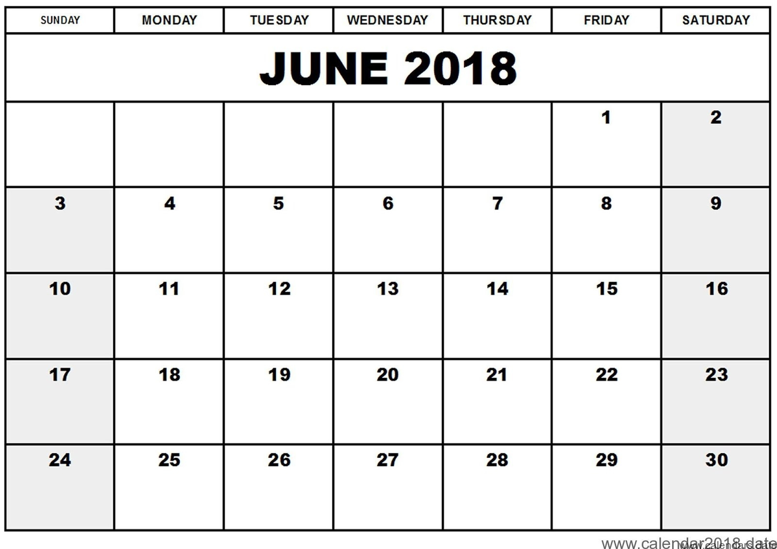 June 2018 Monthly Calendar Printable Templates Printable 89uj