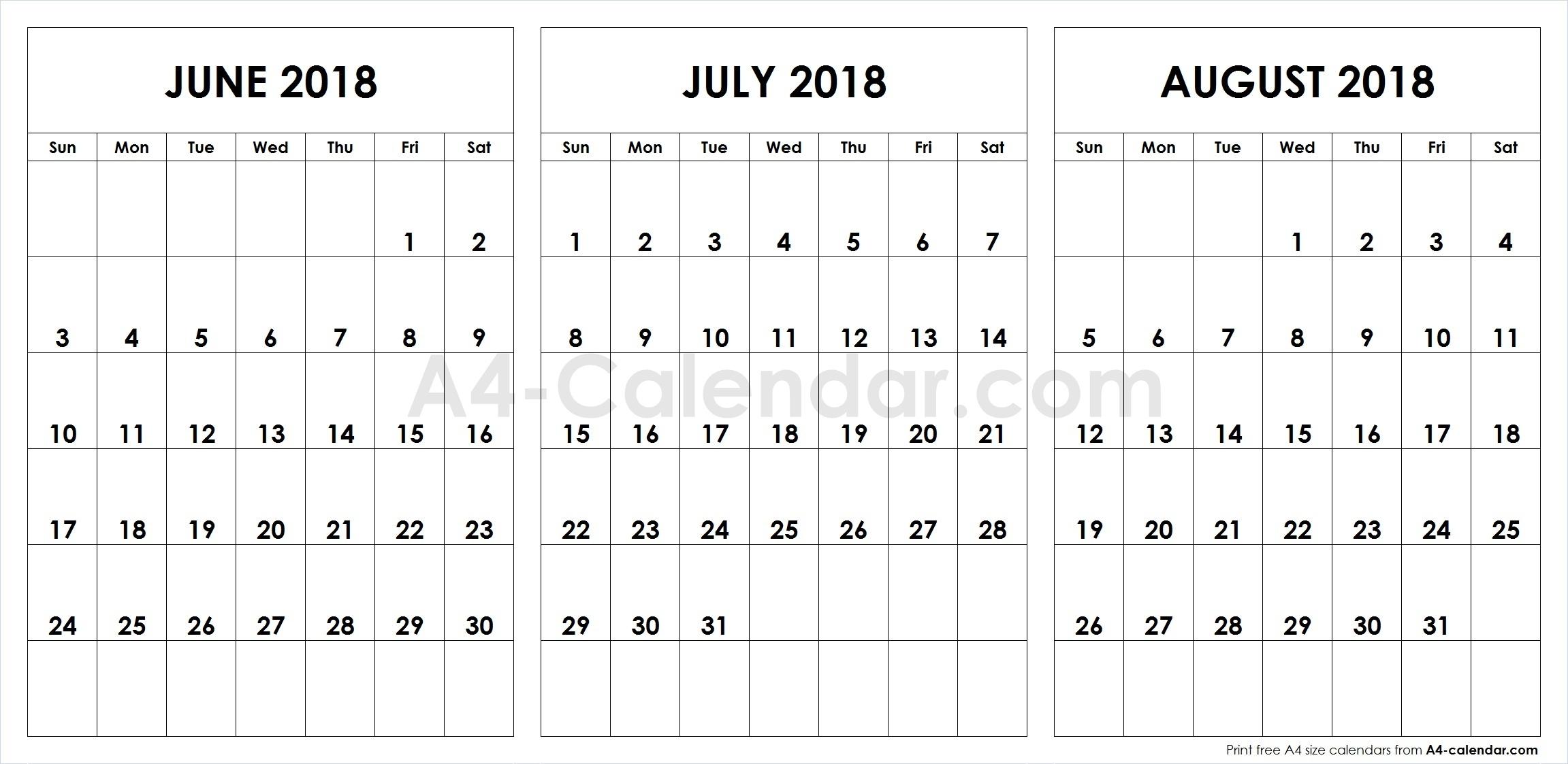 June July August 2018 A4 Calendar 3 Month Calendar Template3abry
