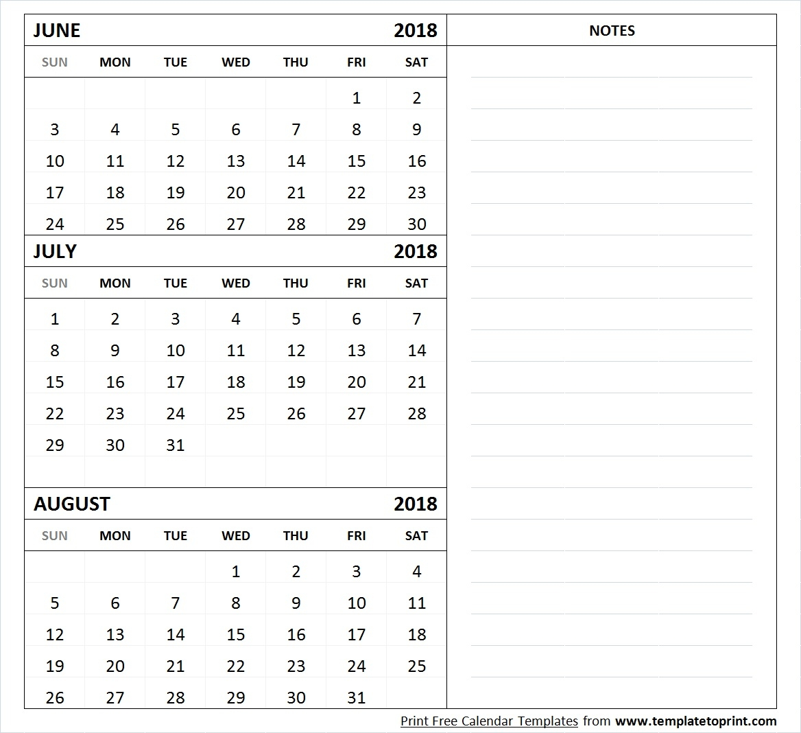June July August 2018 Calendar Template Printable 3 Month Calendar3abry