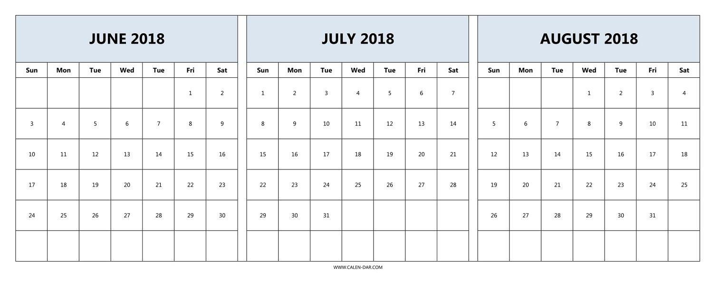 June July August 2018 Calendar Template Rudyco3abry