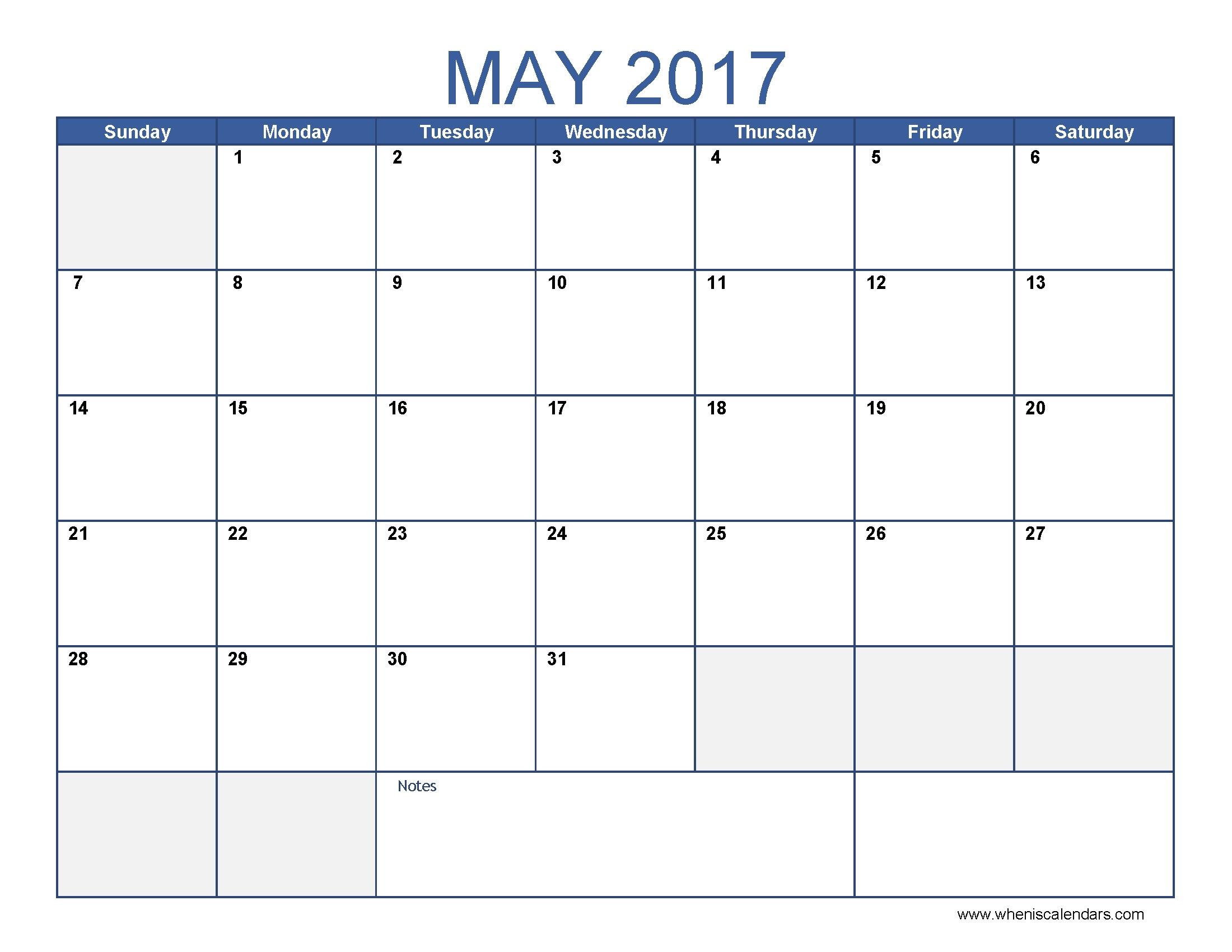 May 2017 Calendar Blue Printable Editable Blank Calendar 2017