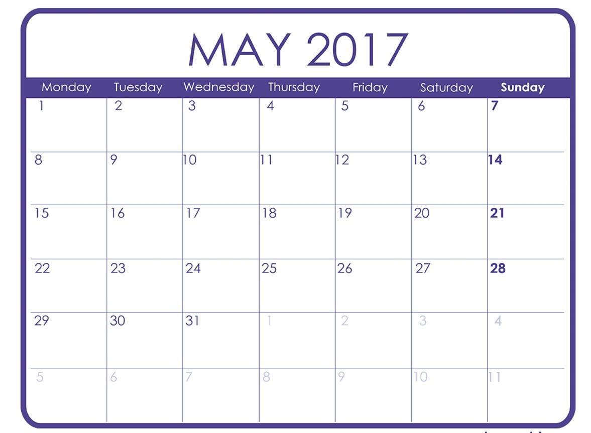 May 2017 Calendar Template Calendar Printable Free  Xjb