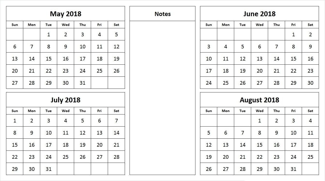 May June 2018 Calendar 4 Month Calendar Template Free Printable3abry
