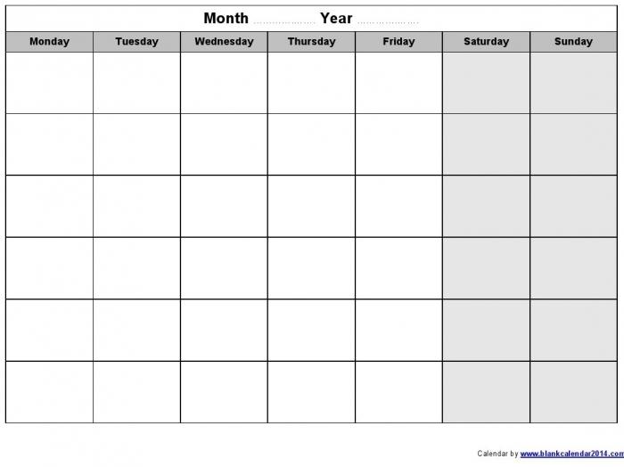 Monday Through Sunday Calendar Template Calendar Printable Template