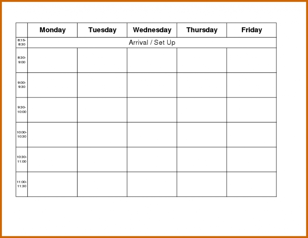 Monday Thru Friday Calendar Template Online Calendar Templates3abry