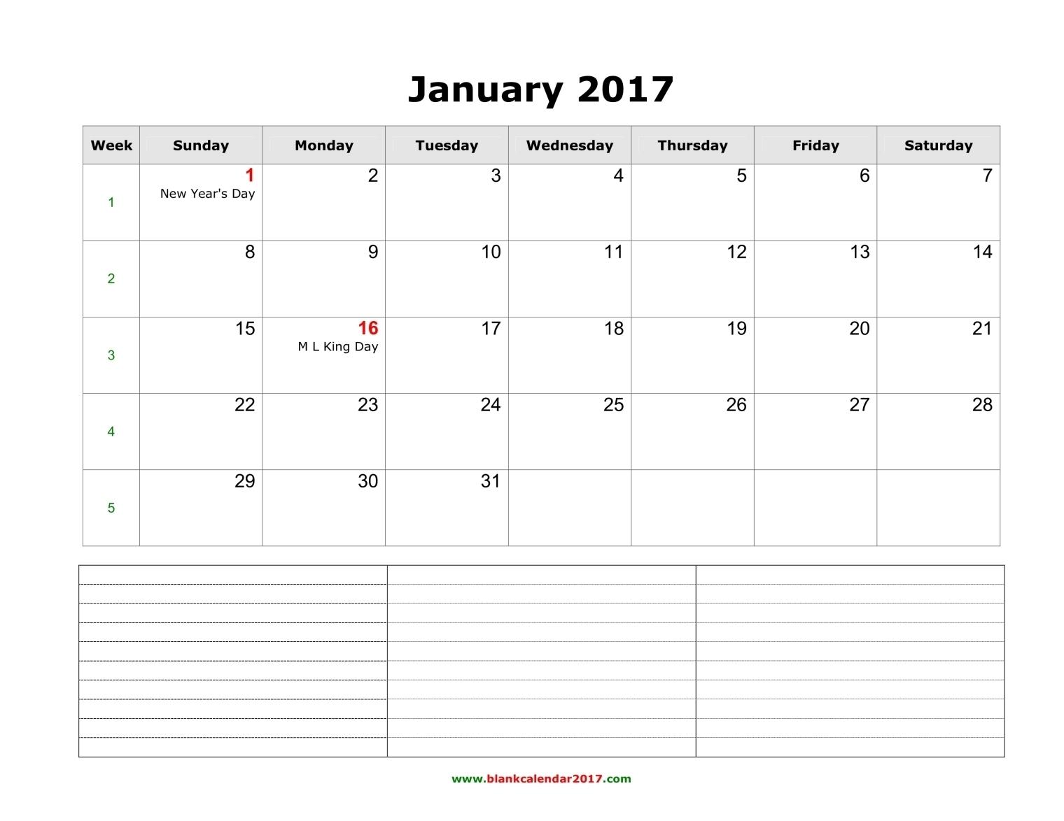 Monthly 2017 Calendar Notes Blank Landscape 89uj