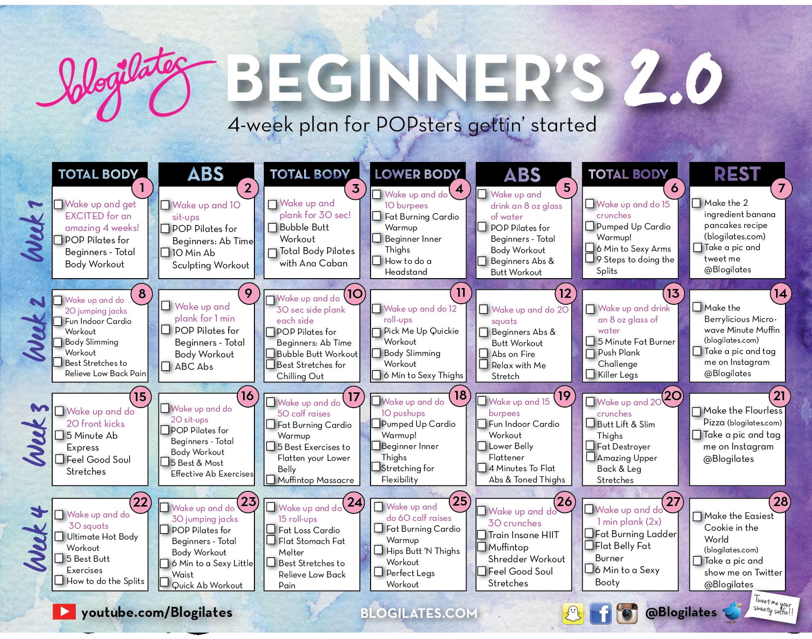 New Beginners Calendar 20 For 2015 Blogilates Fitness Food  Xjb