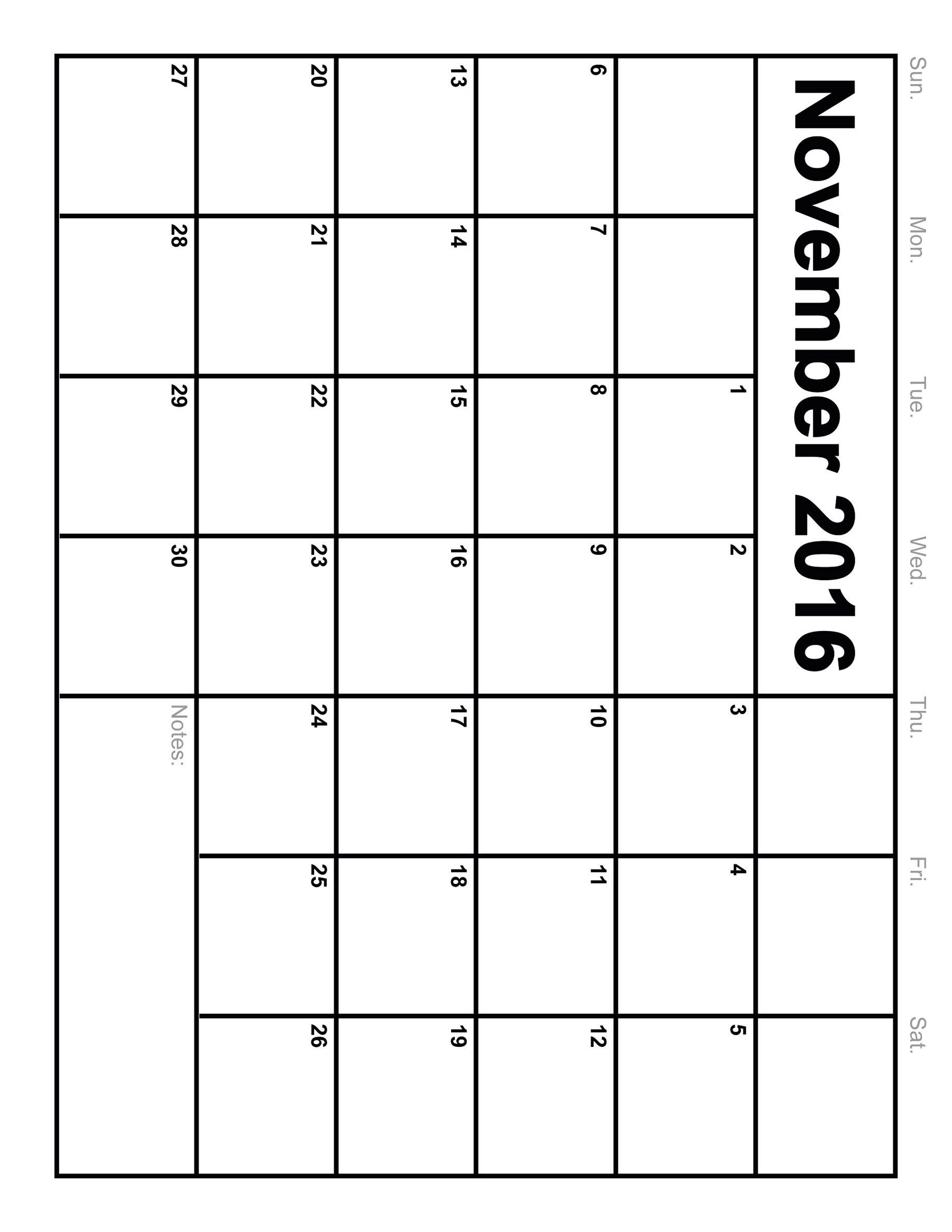 November 2016 Calendar Printable Monthly Blank Calendar 2016 89uj