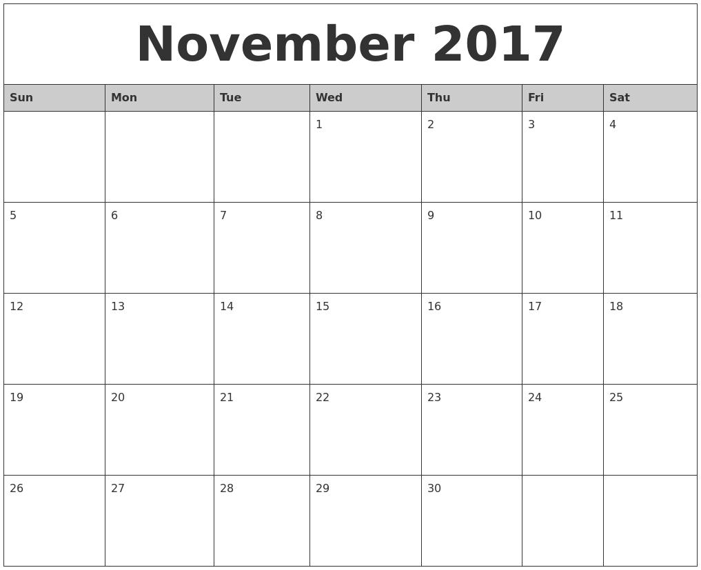 November 2017 Monthly Calendar Printable 1017827 C