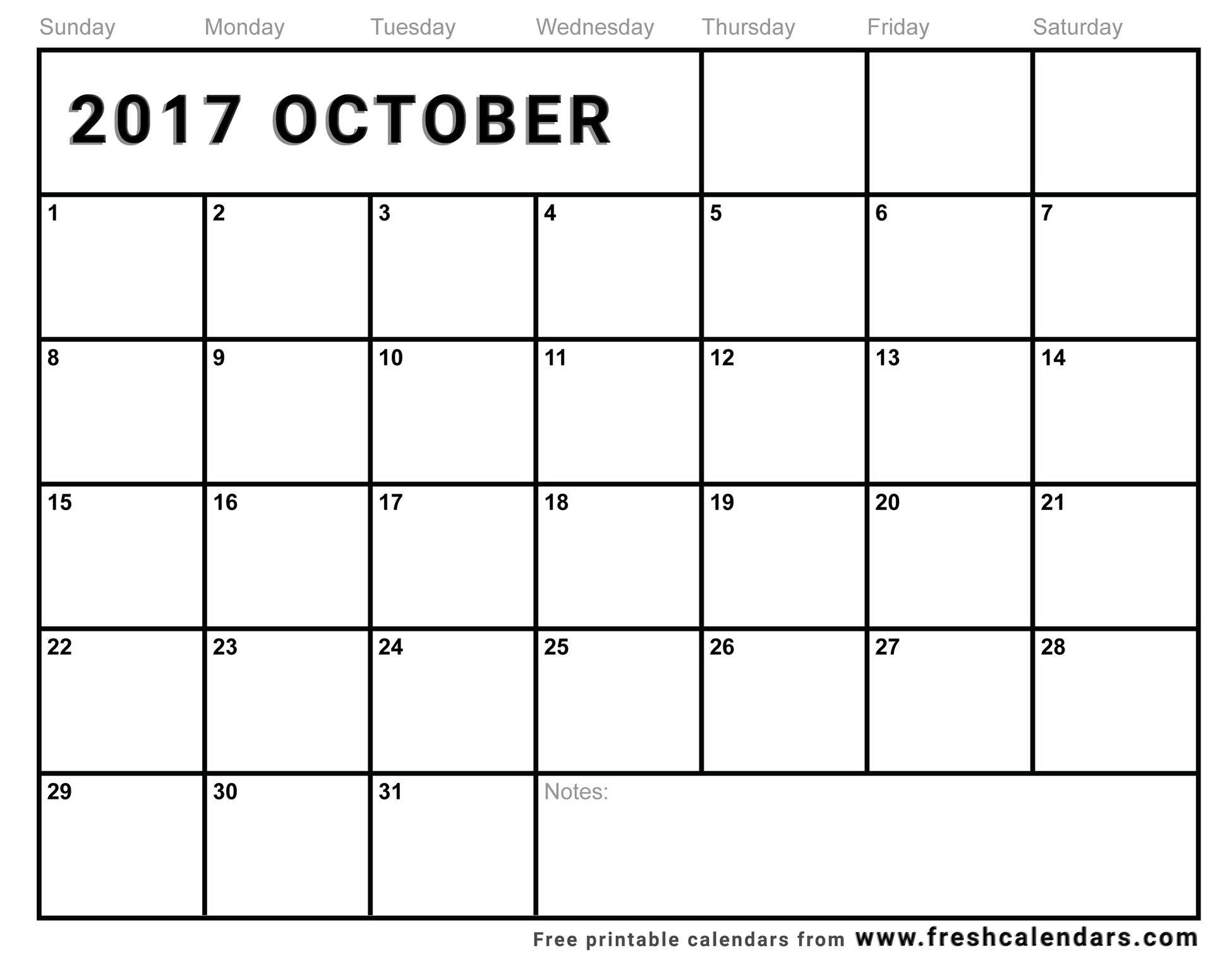October 2017 Printable Calendar Templates3abry
