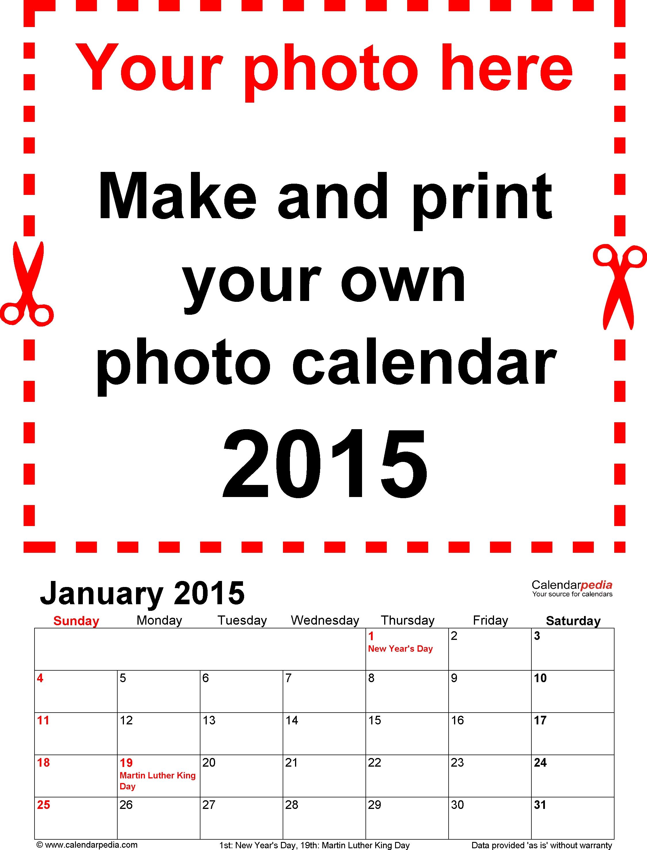 Photo Calendar 2015 Free Printable Word Templates3abry