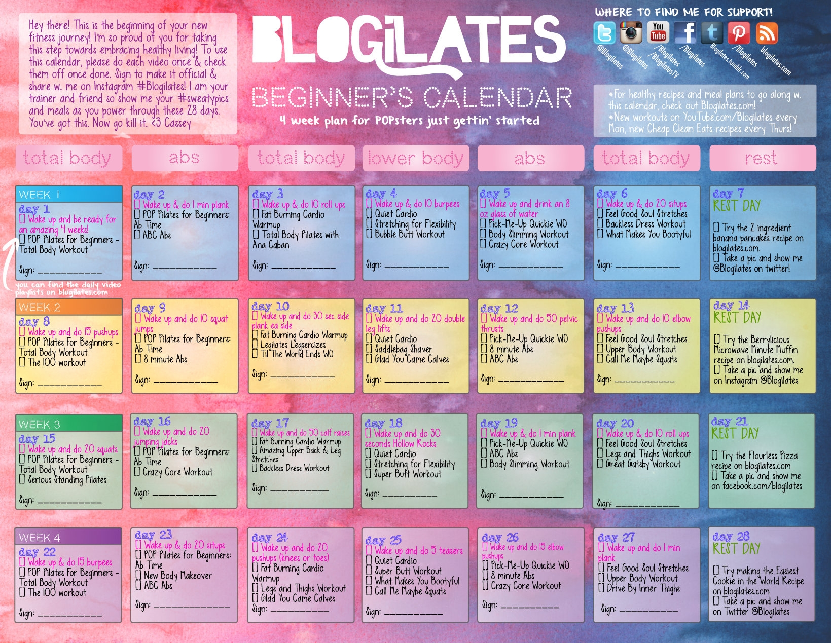 Pop Pilates For Beginners Calendar Blogilates  Xjb