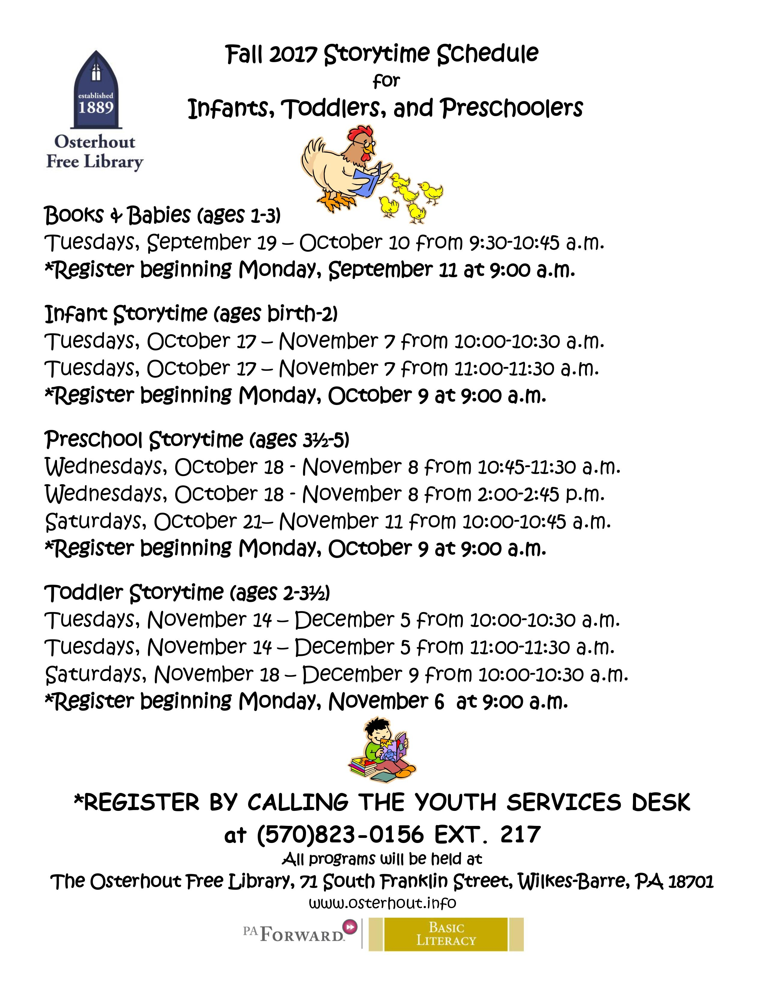 Preschool And Infant Registration Begins Today Osterhout Free
