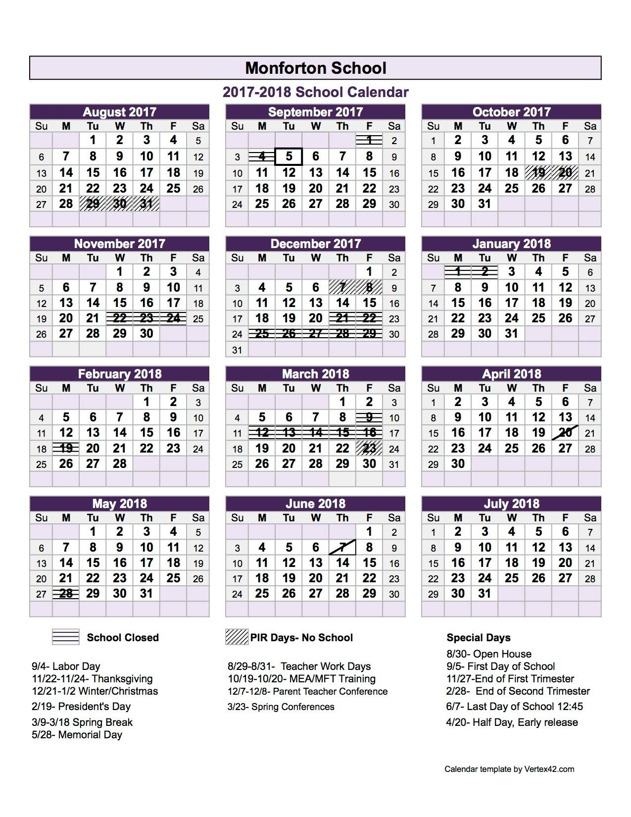 Preview Of Calendar 17 18xls3abry