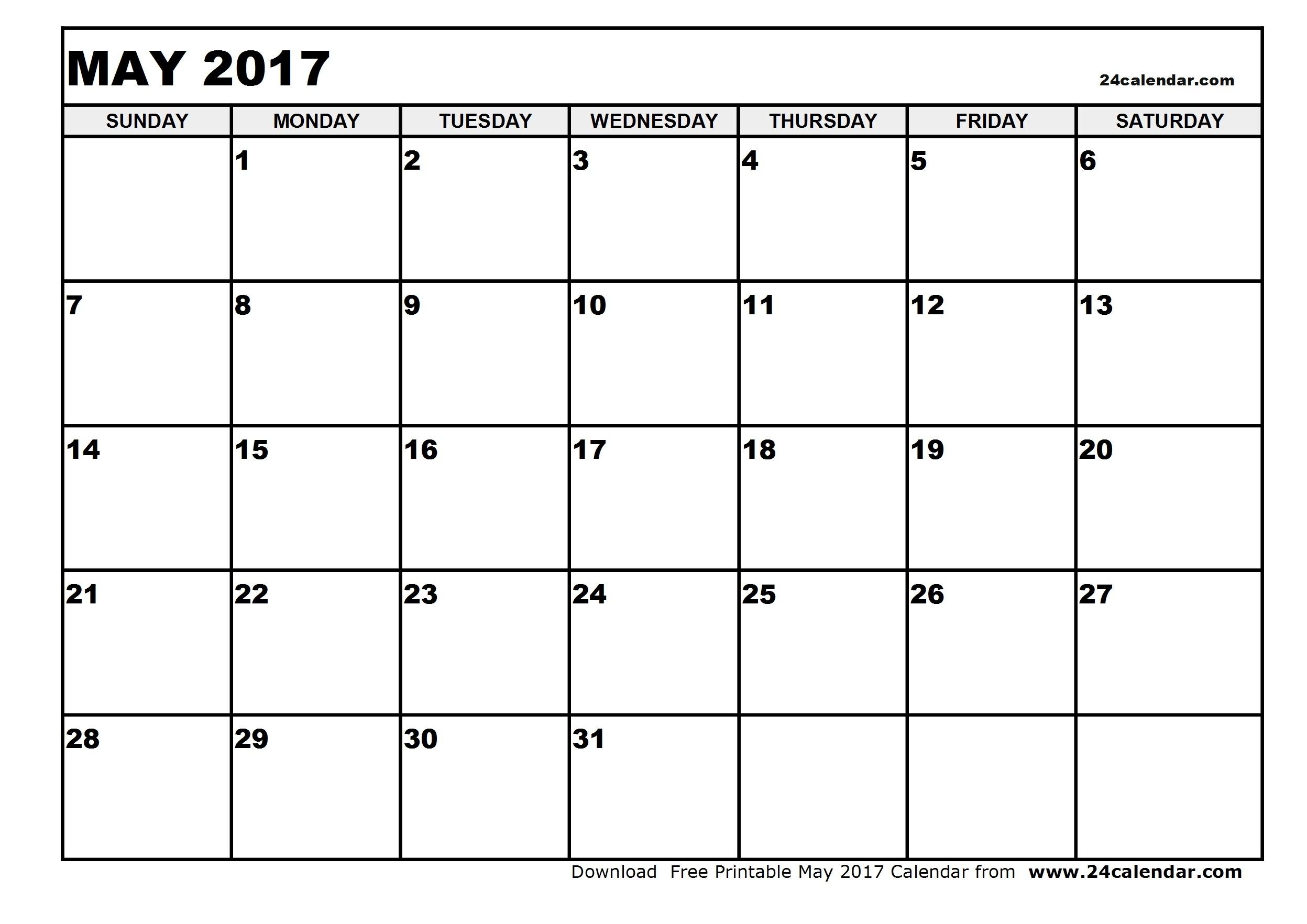 Print A Blank Calendar May 2017 2018 Calendar Template  Xjb