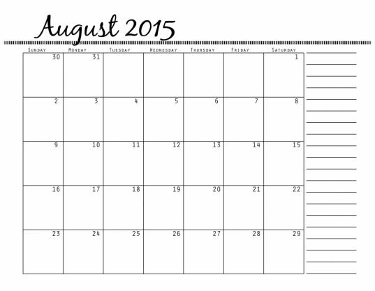 Printable 2016 Calendar With Notes Section Printable Calendar