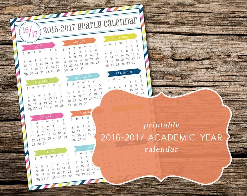 Printable 2017 2018 Academic Year At A Glance Calendar
