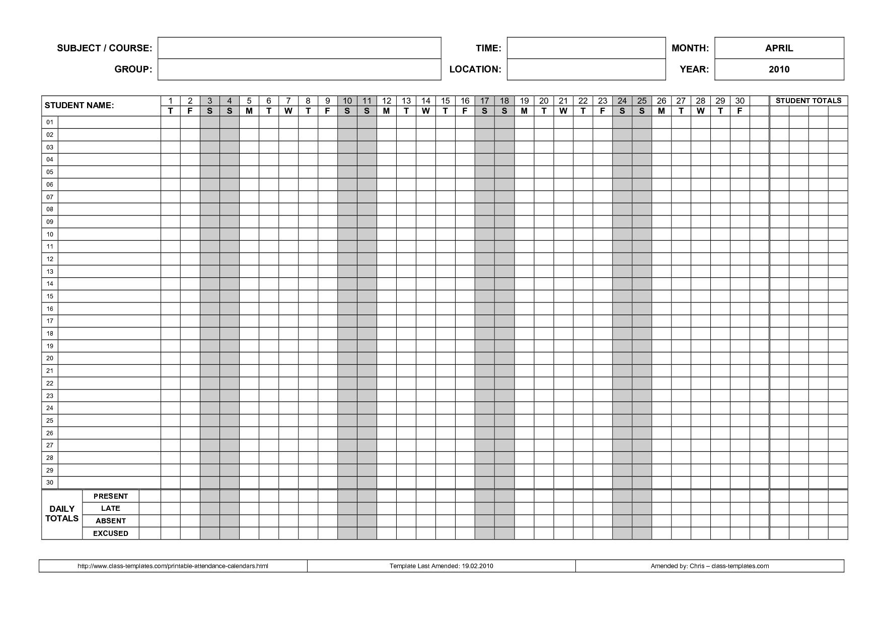 Printable Attendance Calendar 2016 Printable Attendance Calendar 89uj