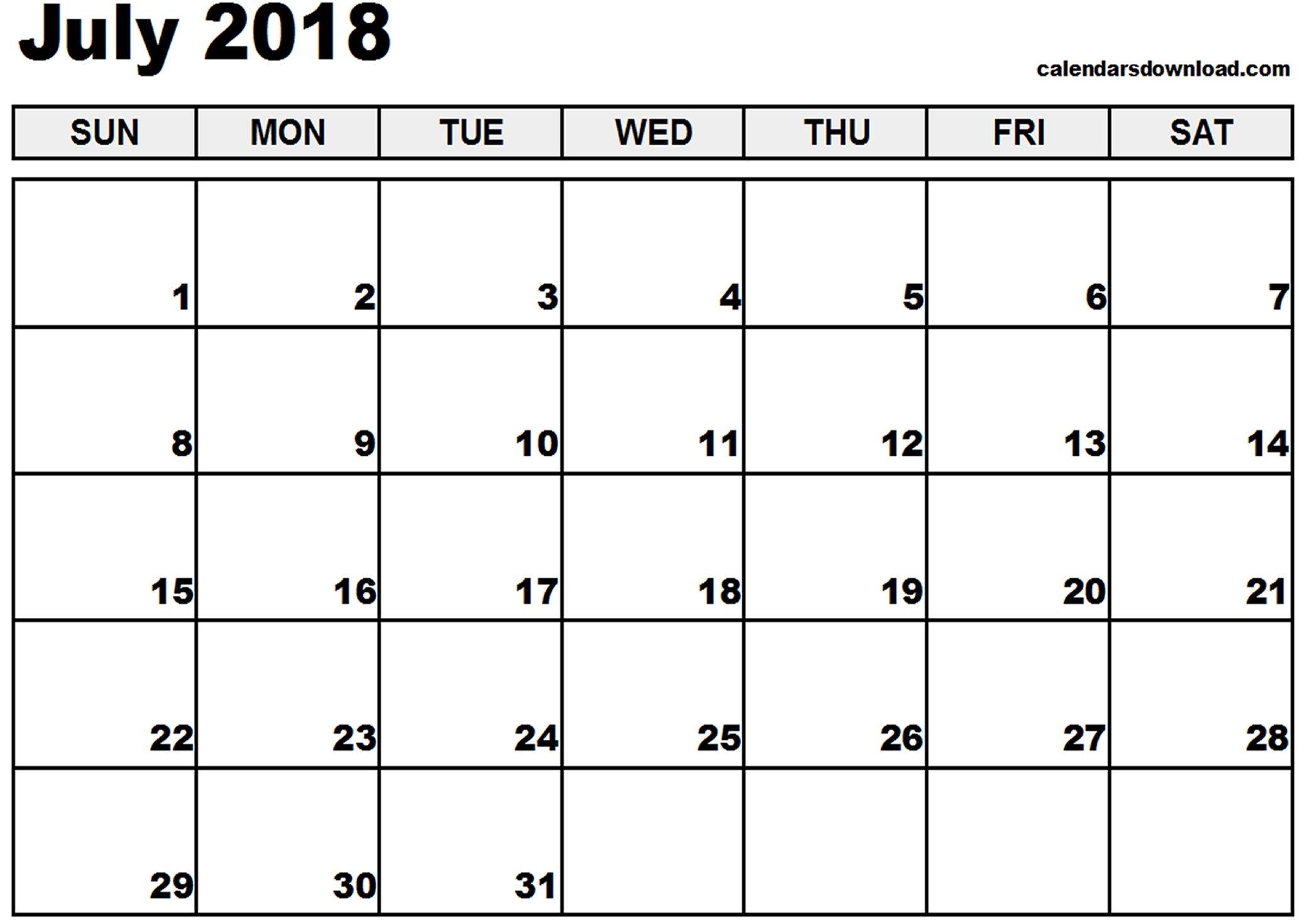 Printable Calendar July 2018 Pdf Journalingsage3abry