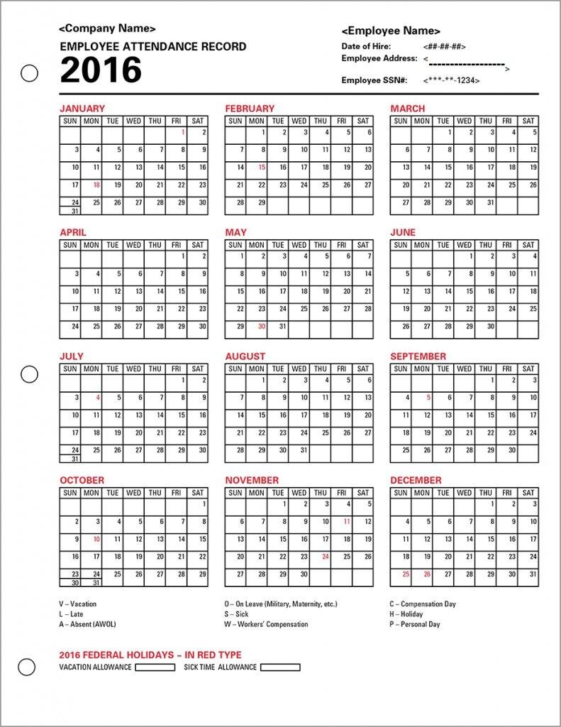 Printable Employee Attendance Calendar Printable Calendar 89uj