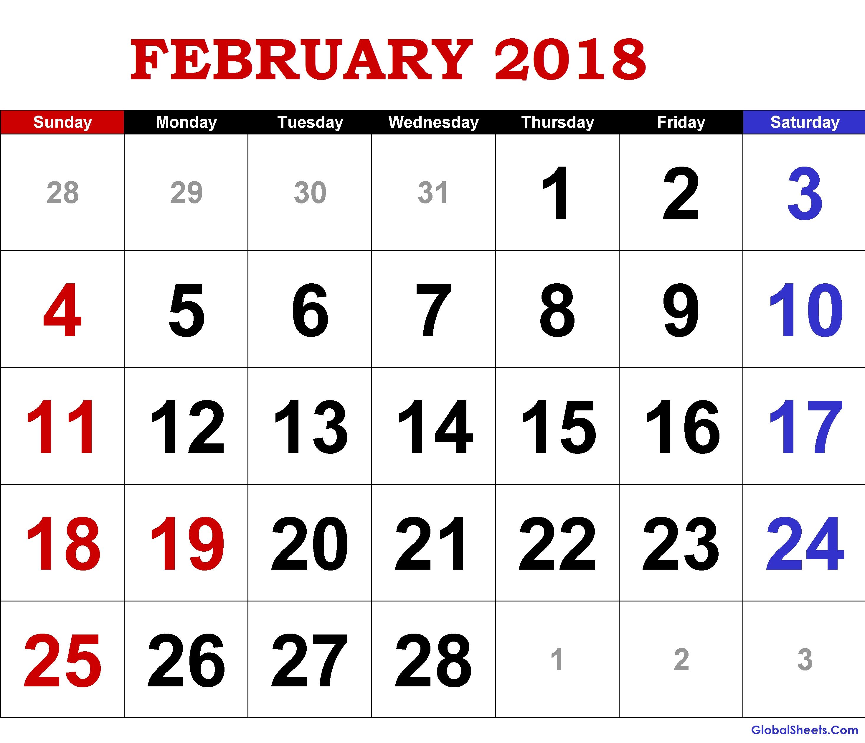 Printable February 2018 Calendar Fillable 89uj