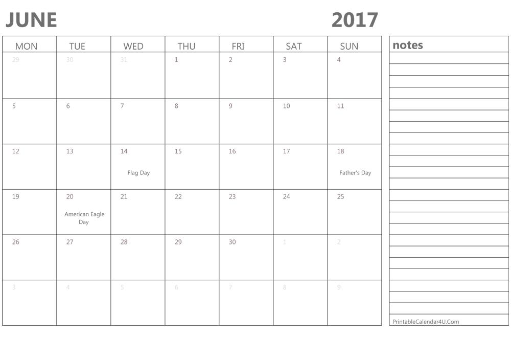 Printable June 2017 Calendar Template Monthly Calendar 2017