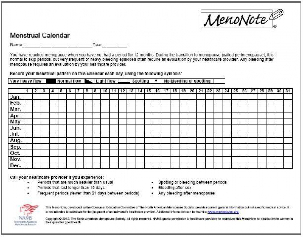 Printable Menstrual Cycle Calendar Free Printable Calendar