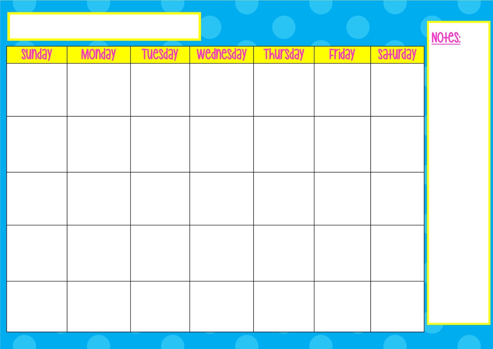 Printable Monday Through Friday Calendar Printable Calendar
