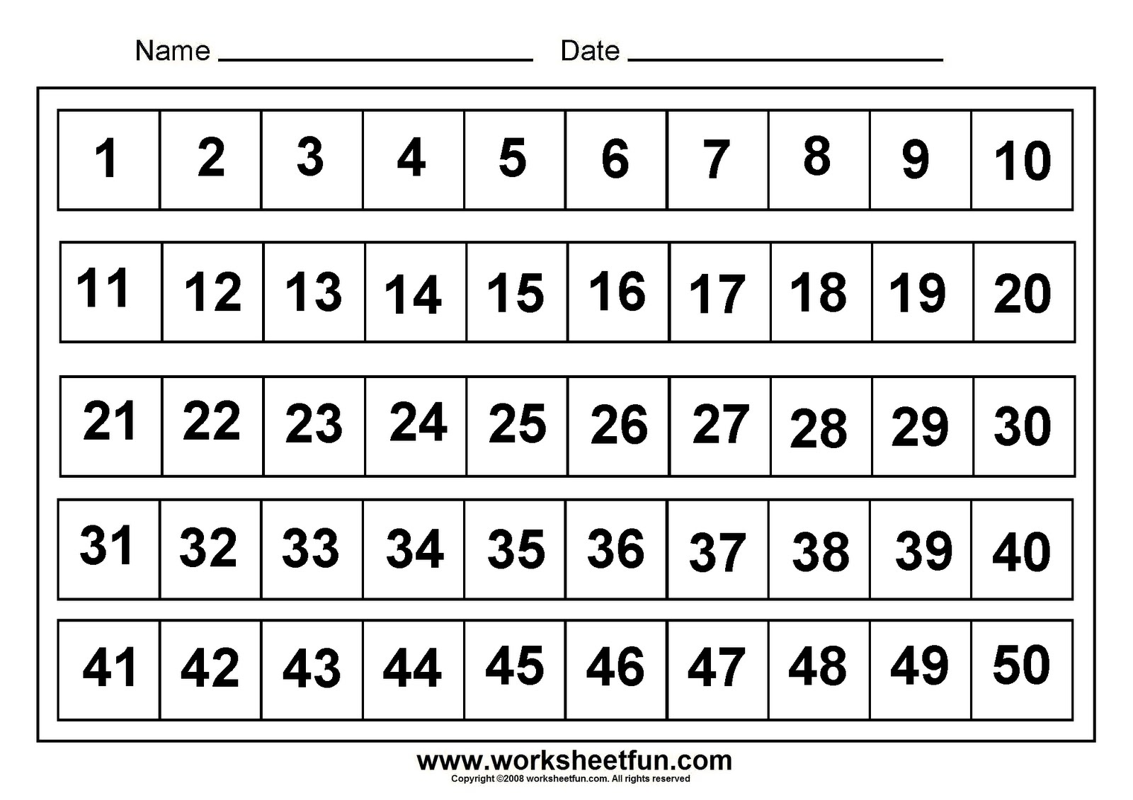 Printable Number Chart 1 50 Ideas Pinterest Number Chart