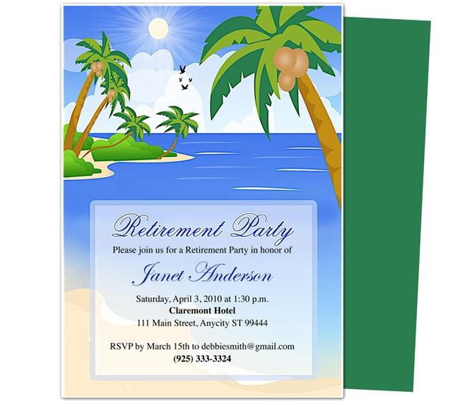Retirement Templates Paradise Retirement Party Invitation