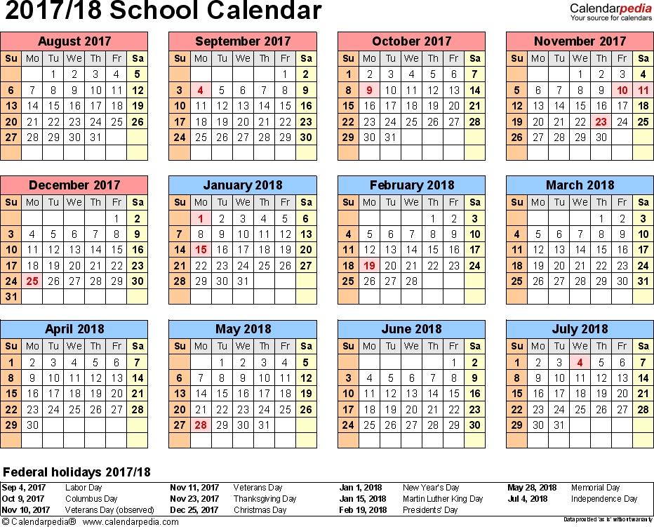 School Calendars 20172018 As Free Printable Pdf Templates