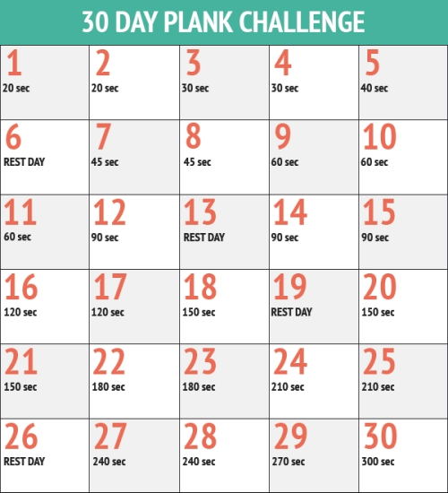 September 30 Day Plank Challenge Plank Challenge Chart Plank