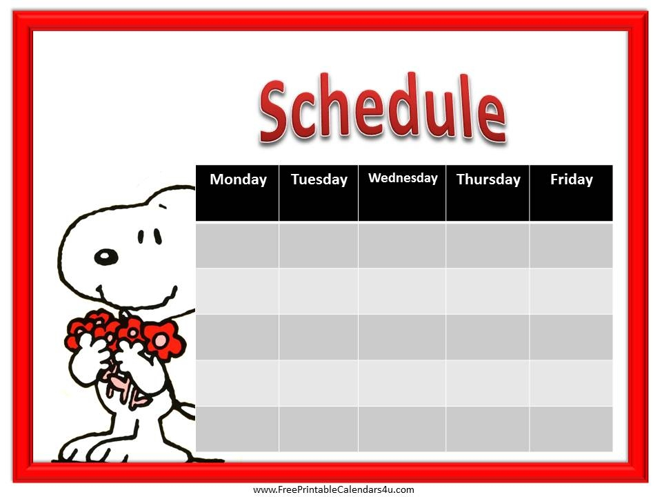 Snoopy Weekly Schedule Printable Weekly Schedule Pinterest
