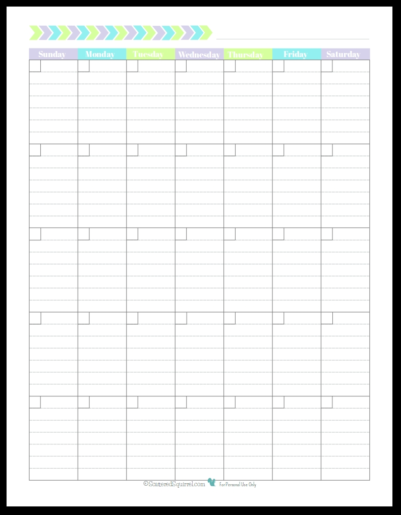 Monthly Calendar With Lined Boxes