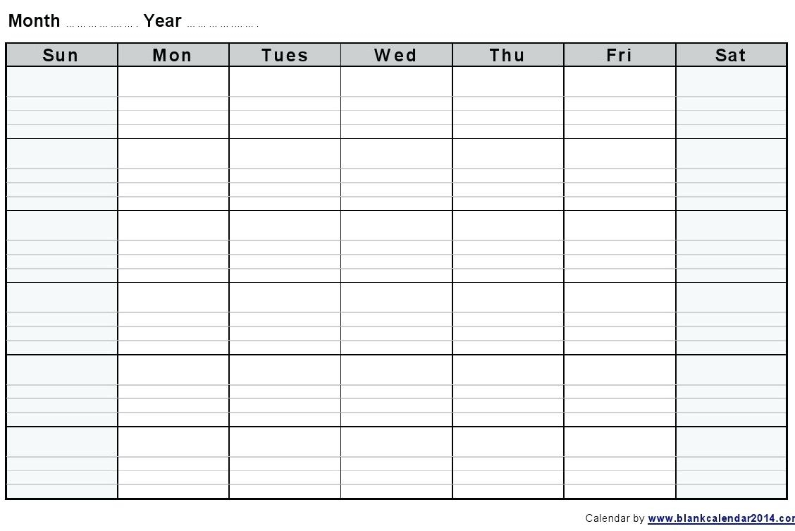 Template 2014 Monthly Calendar Template Printable 2014 Monthly